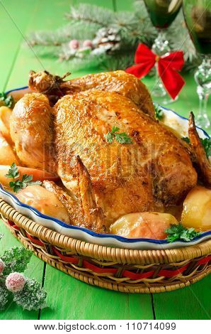 Whole Roasted Chicken With Apples And Cream Sauce