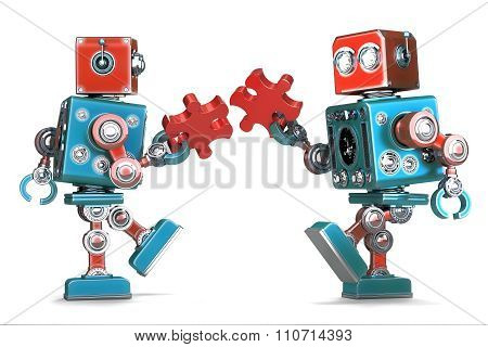 Retro Robots Assembling Jigsaw Puzzle Pieces. Isolated. Contains Clipping Path