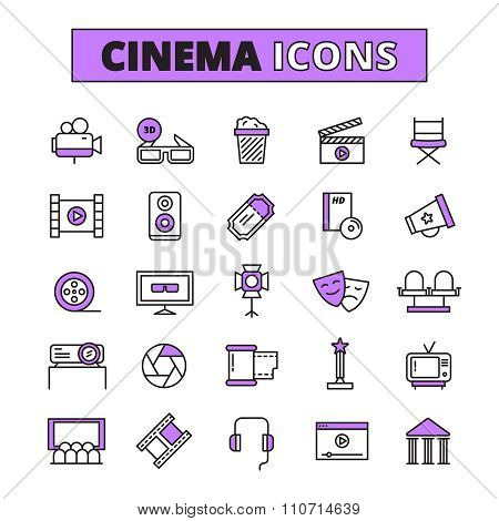Cinema symbols outlined icons set