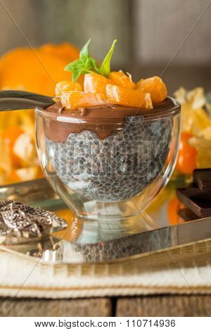 Chocolate Chia Seed Pudding In Glass Bow