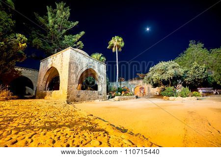 Agia Napa Napa Monastery At Night. Famagusta District, Cyprus