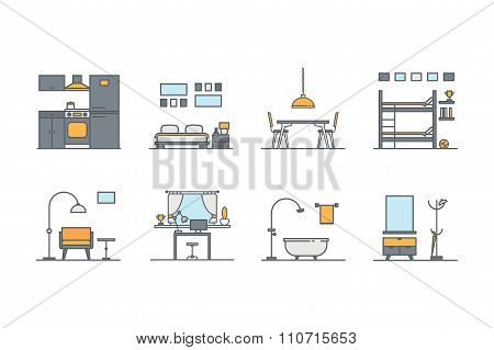 Set of line color interior design icons. Stock vector.