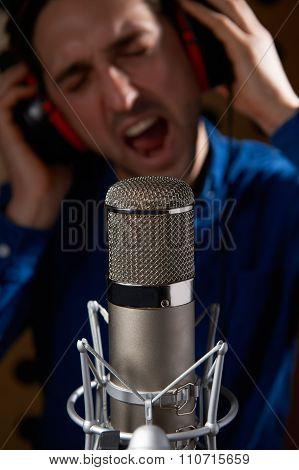 Male Vocalist In Recording Studio