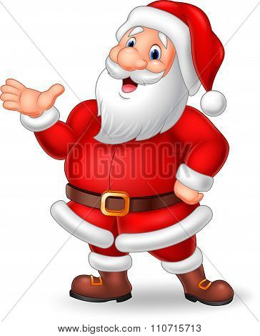 Cartoon Santa presenting isolated on white background
