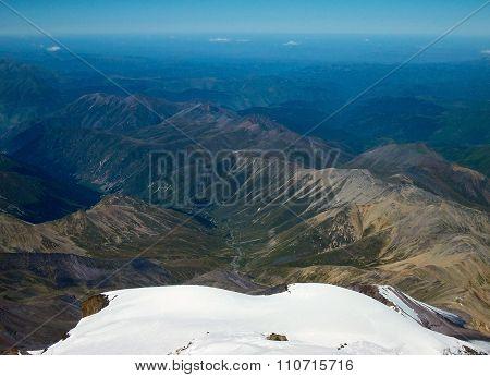 View From Thr Western Peak Elbrus. Hight 5642 Meters.
