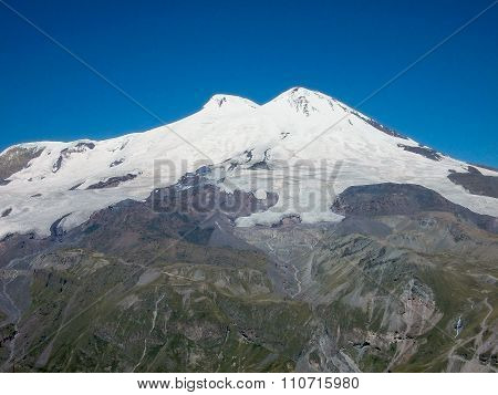Mountain Elbrus. Hight 5642 Meters. View From Mountain Cheget.