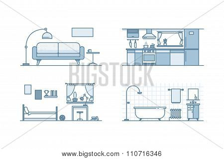 Home interior design. Line illustration. Stock vector.