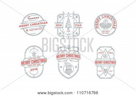 Set of Merry Christmas and Happy New Year Line Badges .