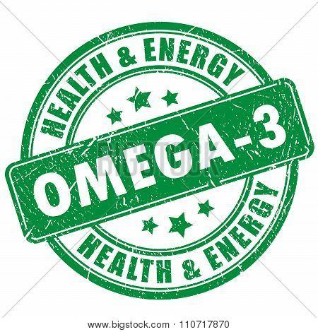 Omega 3 vector stamp