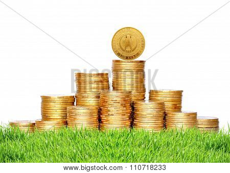 Many Coins In Column On Green Grass Isolated On White