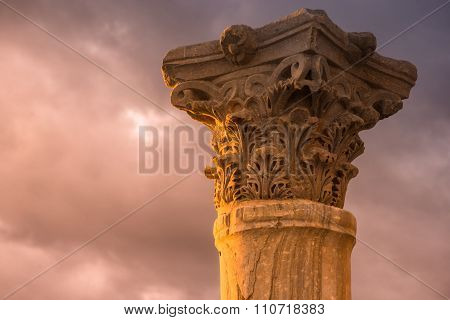 Ancient Column At The Roman City Of Kourion. Limassol District, Cyprus. Color Tone Tuned