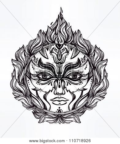 Beautiful romantic Fire Spirit symbol.