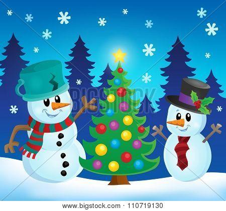 Christmas snowmen theme image 1 - eps10 vector illustration.