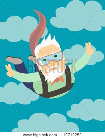 Grandpa jumping with a parachute