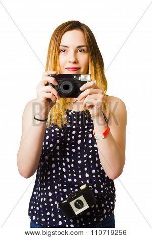 Hobby Photographer With Retro Film Cameras