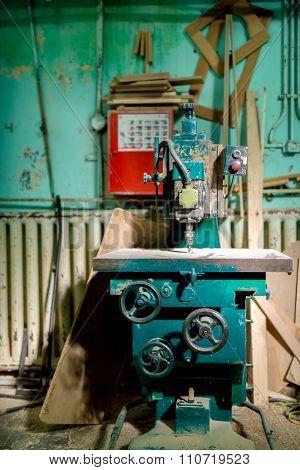Industrial Metal Drilling Tool In Factory. Metal Industrial Machinery