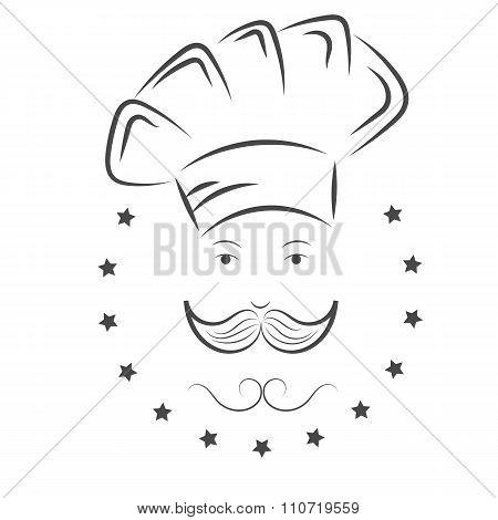 Chef. Cook Hat Witn Mustache Vector Illustration Eps 10