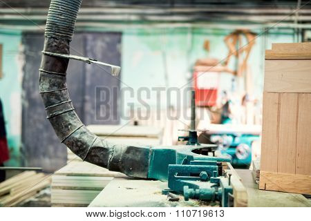Industrial Lathe Tool, Drilling And Vacuuming The Saw Dust From wood processing