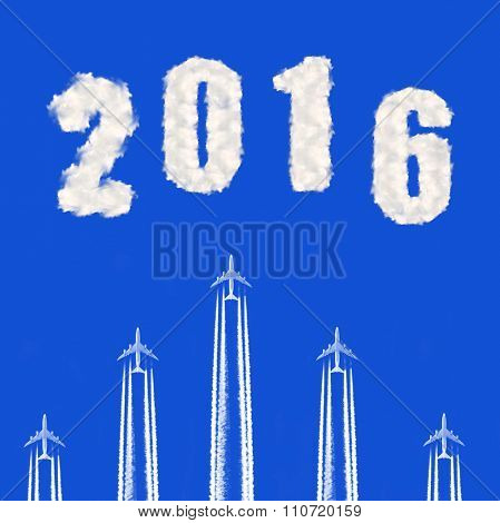 Flying airplanes on the blue sky. Forward to the New Year 2016