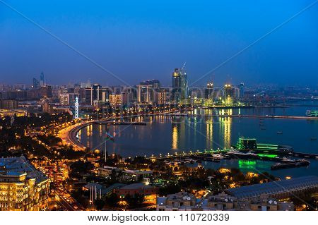 Night view of the city of Baku, Azerbaijan