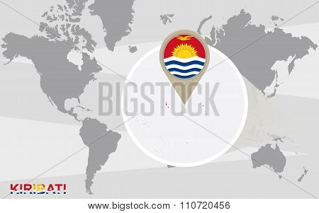 World Map With Magnified Kiribati