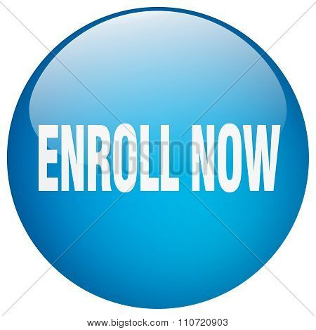 Enroll Now Blue Round Gel Isolated Push Button