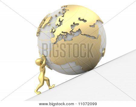 Men Rolls Earth. 3D