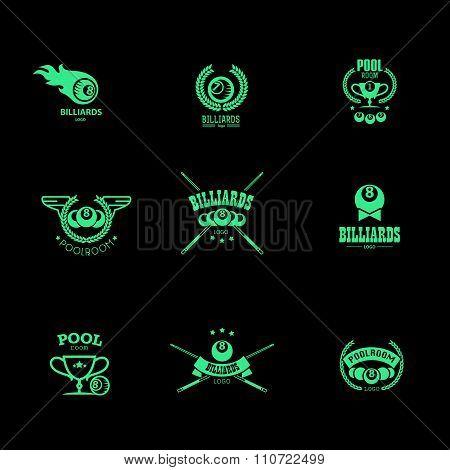 Vector collection of billiard logo.