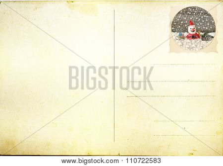 Santa stamp with Merry Christmas card background