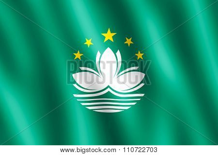 Flag Of Macao Waving In The Wind