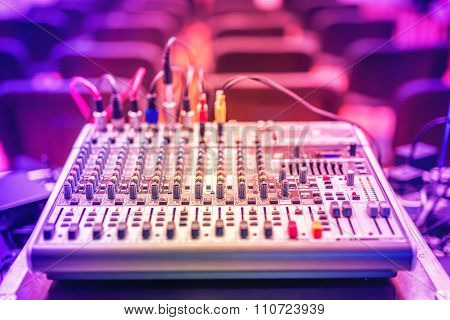 Audio Music Mixer And Sound Equalizer, Dj Equipment And Nightclub Accesories At Party In Modern City