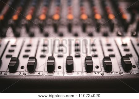 Sound Studio Recording Equipment, Music Mixer Controls At Concert Or Party In A Night Club