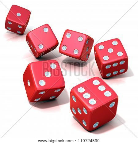 Six red game dices