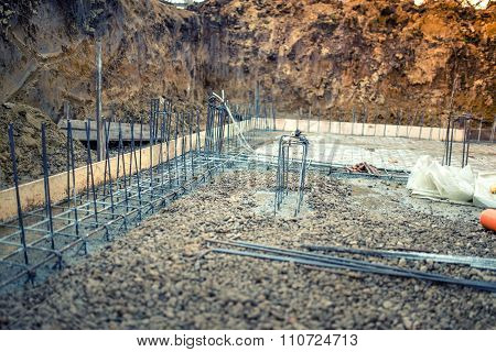Industrial Construction Site, Cement In Foundation And Reinforcement Of Steel Bars