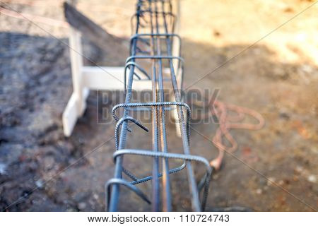 Reinforced Heavy Duty Steel Bars On New Construction Foundation Site, Infrastructure Details
