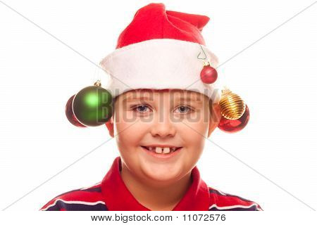 Christmas Boy With Santa Hat