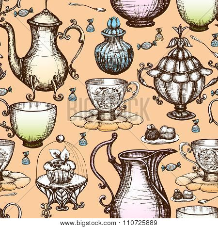 Vintage Tea Seamless Pattern