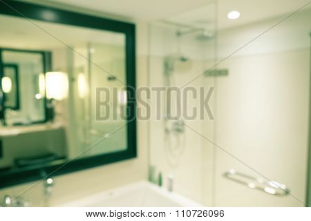 Blurred Defocussed Abstract Background Of A Bathroom In A Hotel