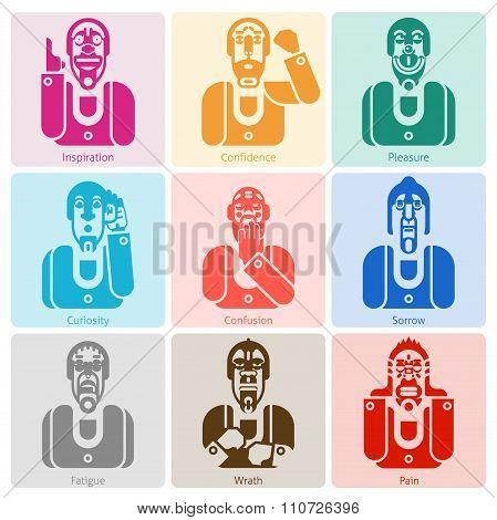 Monochrome emotion icons set