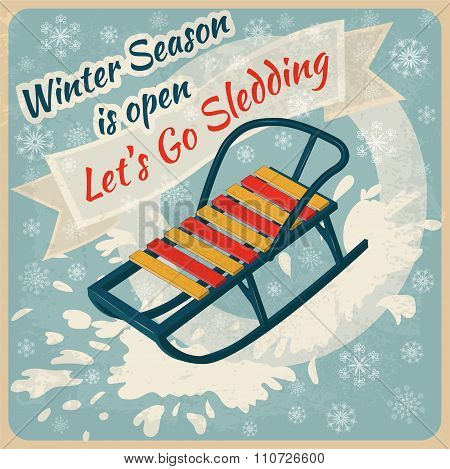 Winter Season. Lets Go Sledding Retro Poster - In Vector
