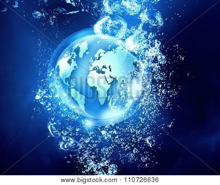 Digital planet sink in clear blue water