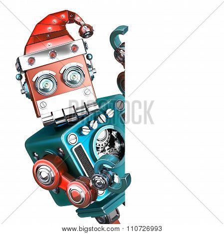 Retro Santa Robot Looking Out From Behind The Blank Board. Isolated. Contains Clipping Path
