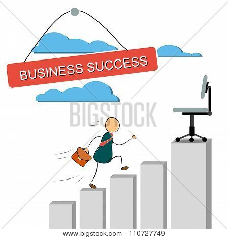 Vector Illustration Of A Businessman Running Up