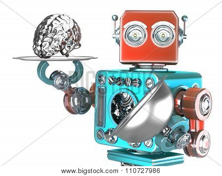 Robot With Tray And Human Brain. Artificial Intelligence Concept. Isolated. Contains Clipping Path