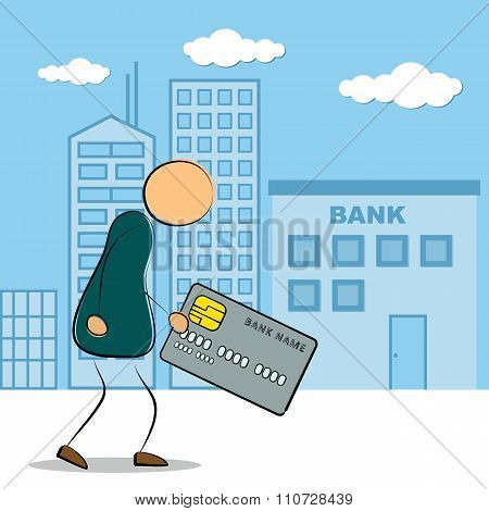Man Going To Bank Building With Credit Card