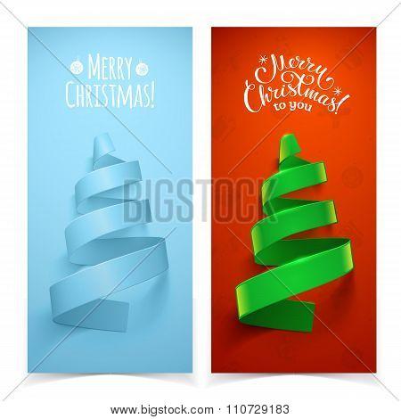 Decorative ribbon Christmas tree.
