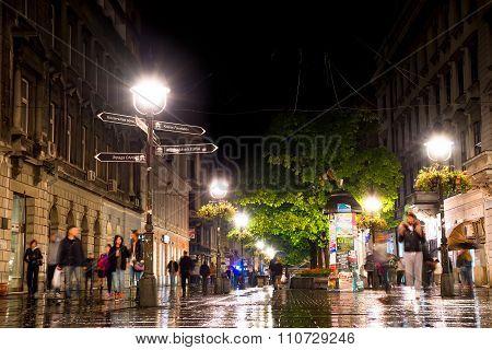 Belgrade, Serbia - September 25: Rainy Inght At Knez Mihailova Street On September 25, 2015 In Belgr