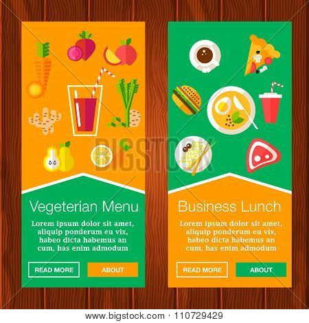Two banners with food