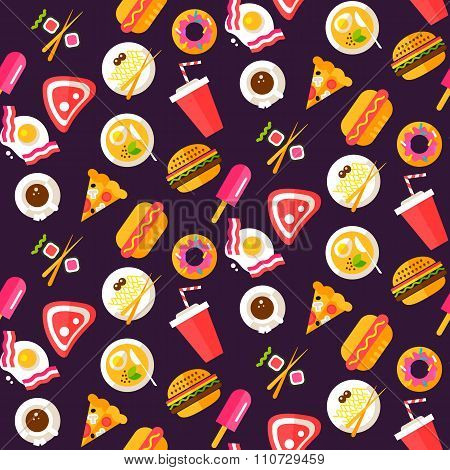 Seamless Pattern With Healthy And Junk Food