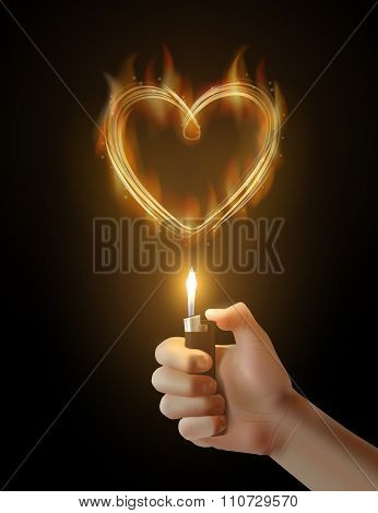 Vector burning heart and the hand holding the lighter.
